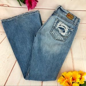 BKE Star Distressed Flare Blue Denim Jeans